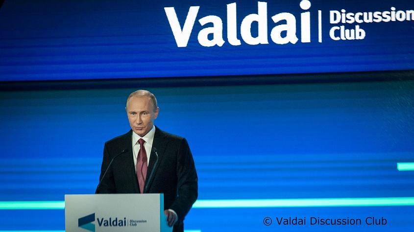 Vladimir Putin all conferenza dei soci del Valdai Club