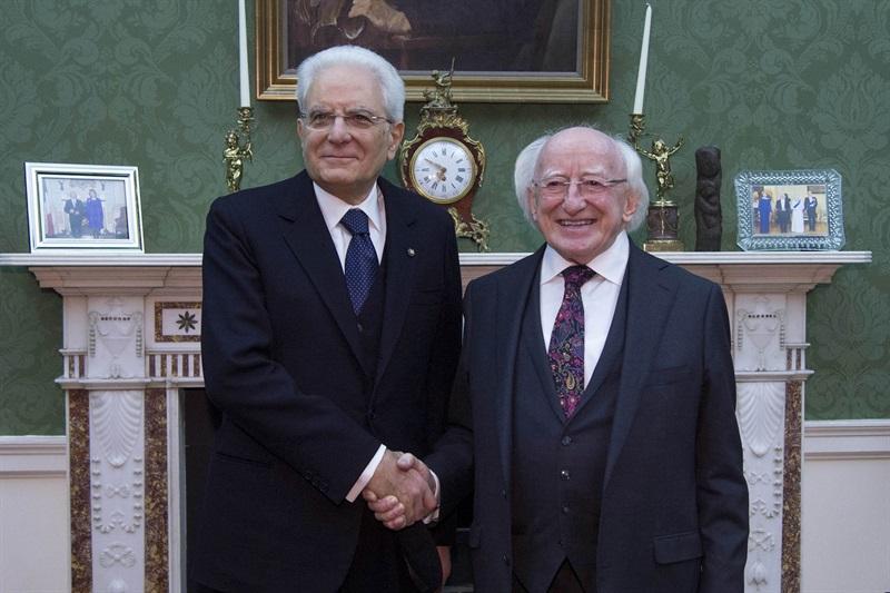 Il Presidente Sergio Mattarella con il Presidente d'Irlanda Michael D. Higgins in occasione del Pranzo di Stato