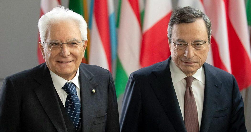 Il Presidente della Repubblica Sergio Mattarella con Mario Draghi, Presidente della Banca Centrale Europea