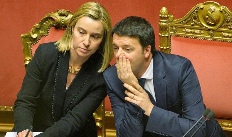 Federica Mogherini-Matteo Renzi-Parlamento Europeo