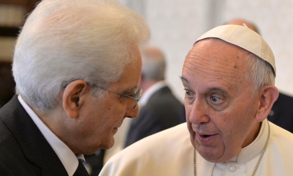 Sergio Mattarella con Papa Francesco