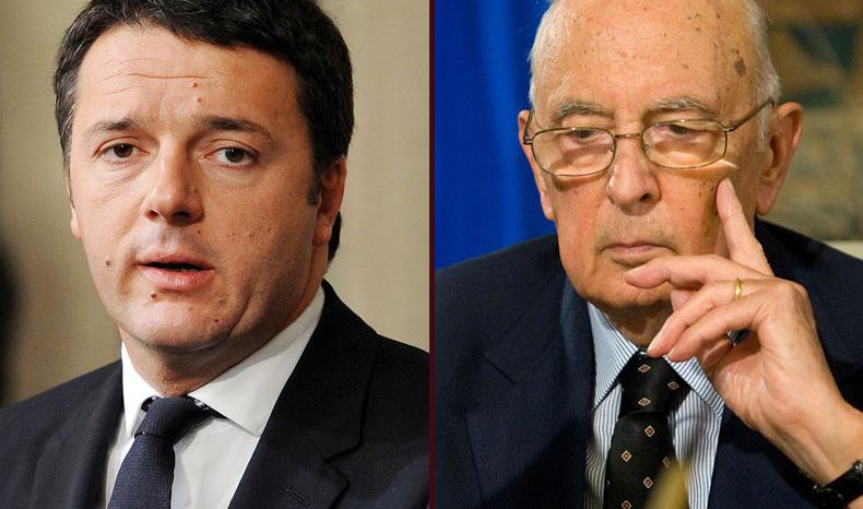 Matteo renzi-Giorgio Napolitano-Presidenza della repubblica-quirinale